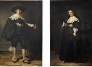 Portrait of Maerten Soolmans (L) (1634) and Portrait of Oopjen Coppit (1634) (R) by Dutch painter Rembrandt