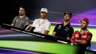 Fernando Alonso, Lewis Hamilton, Daniel Ricciardo, Sebastian Vettel