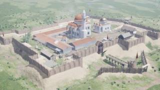 Kanuni'nin türbesinin bulunduğu kasaba merkezinin, araştırmalar temelinde oluşturulan görüntüsü