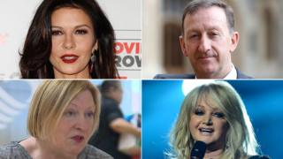 Catherine Zeta Jones, Huw Jenkins, Edwina Hart and Bonnie Tyler