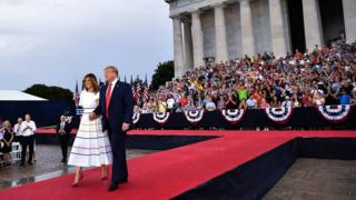 President Donald Trump and First Lady Melania Trump arrive at the event