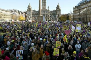 Marchers in George Square
