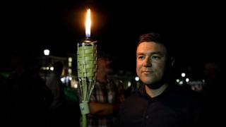 Jason Kessler at the UVA campus torch march