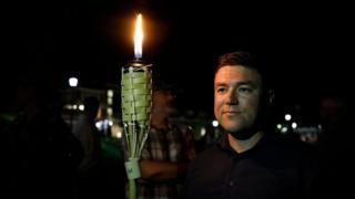 Jason Kessler at the UVA campus torch march