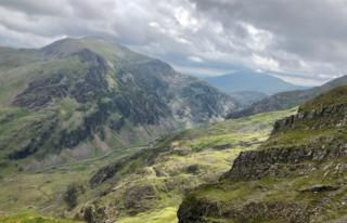 Rocky and green-looking view from the Llanberis trail up Snowdon