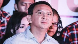"Jakarta""s incumbent governor Basuki ""Ahok"" Tjahaja Purnama looks up shortly before speaking to journalists on a press conference in Jakarta, Indonesia, 19 April 2017."