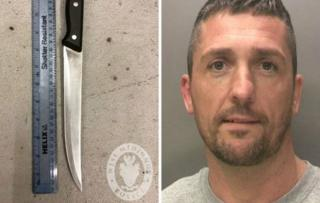 Adrian Brock and the knife he used to try to kill his victim