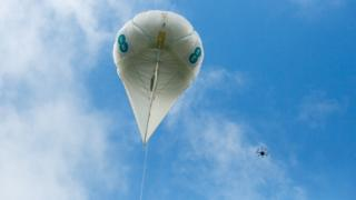 EE airballoon and drone in sky