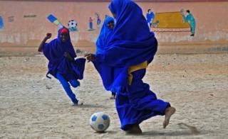 School girls play football south of Mogadishu, Somalia – Wednesday 5 October 2016