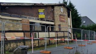 White Hart pub, Pontllanfraith, after fire