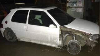 The car without a front wheel