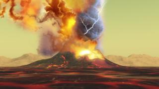 Recreación de la tormenta que se produce en lo alto de un volcán.