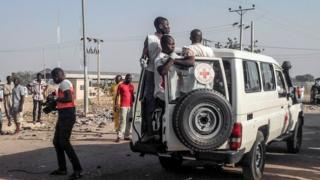 International Red Cross Society at the scene of previous suicide bomb blast in Maiduguri in 2016