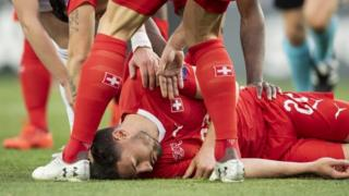Euro 2020: Georgia opponent rushes to Swiss player's aid