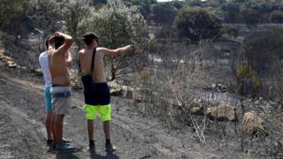 A man gestures as he shows the burnt countryside after a brushfire hit the country around Saint Gilles