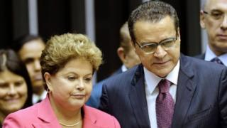 This file photo taken on October 9, 2013 shows former Brazilian President Dilma Rousseff (L) and former Lower House President Henrique Eduardo Alves attending a solemn session of the National Congress in tribute to the 25th anniversary of the promulgation of the Constitution in Brasilia