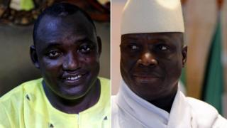 Adama Barrow (I bubamfu) na Yahya Jammeh (i buryo)