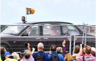 Queen Elizabeth II in a car