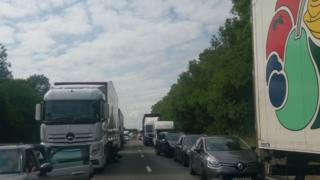 Traffic stuck on the A1 in Nottinghamshire