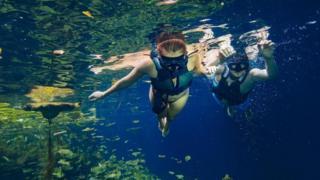 Mergulho em cenote na península de Yucatán