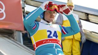 Taron Egerton as Eddie Edwards in the Eddie the Eagle film