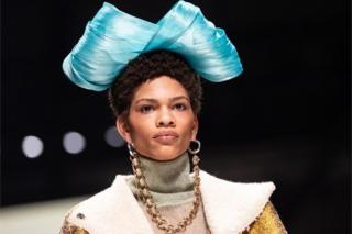 "A model presents a creation by Viviers of the show ""Fashion talents from South Africa"" during the Mercedes-Benz Fashion Week in Berlin, Germany, 13 January 2020"