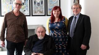 Alasdair Gray (2nd from left) with (L to R) Kevin Brown, Pro Alan Riach and Sarah Mason
