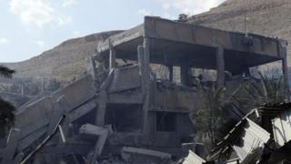Prédio em que, segundo potências ocidentais, haveria produção de armas químicas nos arredores de Damasco