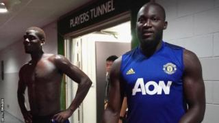 Romelu Lukaku (right) with Paul Pogba, during pre-season training for Manchester United.