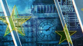 Graphically drawn Big Ben in blue overlaid with yellow EU stars