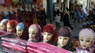 Veils are displayed on a stall at a market in Tripoli, Libya - Tuesday 18 October 2016