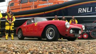 Red Ferrari and Lifeboat and crew
