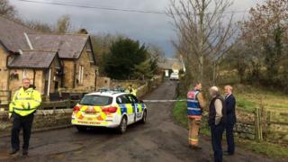 Emergency services at the scene of the Lucker fire