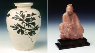 Jizhou stoneware vase and soapstone figure of Dongfang Shuo