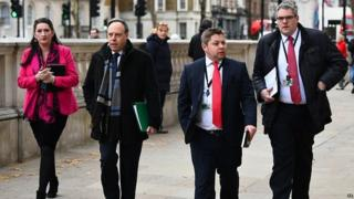DUP MPs arriving at the Cabinet Office for talks with UK government ministers
