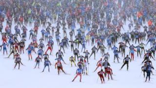 """awon eniyan n kopa ninu ere yinyin """"skiing"""" Khimki, Moscow - 4-2-2018"""