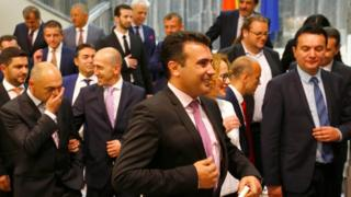Social Democrat leader Zoran Zaev (C) poses for photo with newly elected ministers at Macedonian parliament in Skopje, June 1, 2017