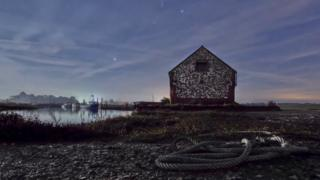 Thornham Staithe under moonlight