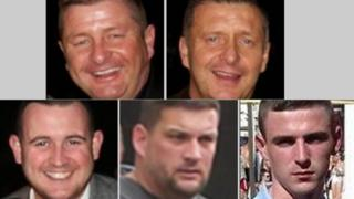 European Arrest Warrants have been issued for (top l to r) Barry and James Gillespie, (bottom l to r) Christopher Hughes, James White and Jordan Owen