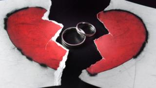 Two rings and a picture of a broken heart
