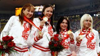 Российская четверка после победы в эстафете 4х100 в Пекине