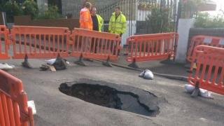 A sink hole in Gibbs Road, Newport