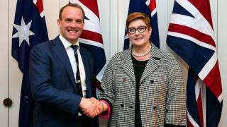 Mike Pompeo Australia's Foreign Minister Marise Payne shakes hands with Britain's Foreign Secretary Dominic Raab