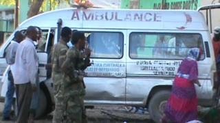 An ambulance is seen on 28 February, 2016 in Baidoa after twin explosions in the Somali city killed at least 30 people