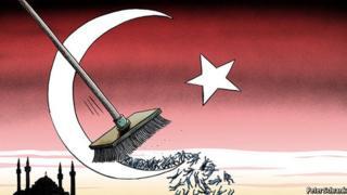 Türk bayrağının yer aldığı bir çizim