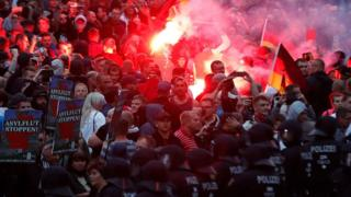 Extrema-direita em manifestação em Chemnitz