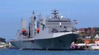 磐石艦是台灣自建的油彈補給艦,據了解美軍官員登上這艘軍艦的原因與朝鮮半島的危機無關。