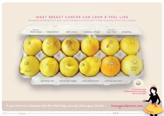 The signs of breast cancer, as shown on lemons