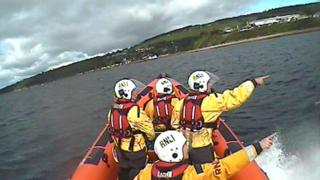 RNLI Kessock crew on shout off Fortrose