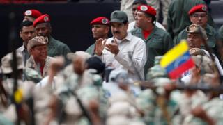 Venezuelan President Nicolás Maduro attends a ceremony celebrating the 17th anniversary of President Hugo Chávez's seizure of power following an attempted coup and the National Militia Day in Caracas, Venezuela on April 13, 2019